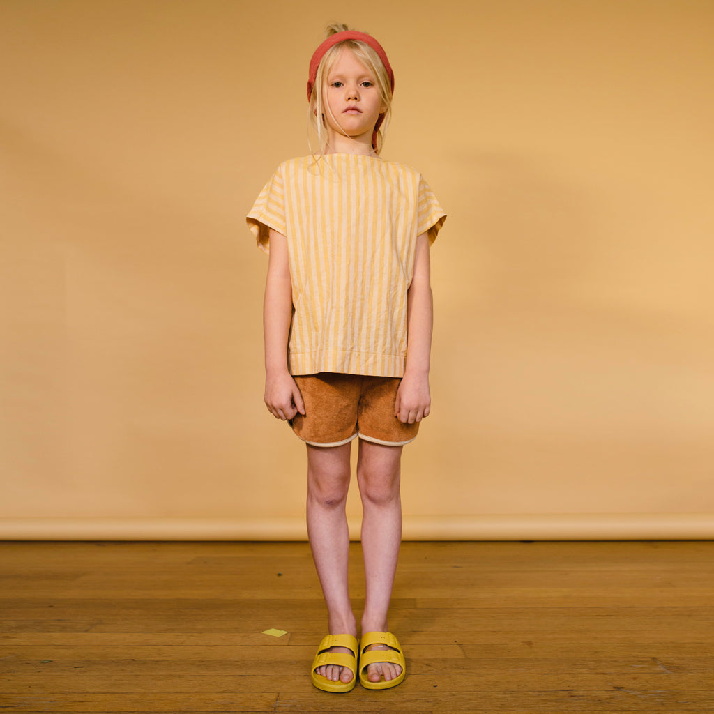 Repose AMS Striped Kid's Woven Tee Yellow/Gold Stripe | BIEN BIEN | www.bienbienshop.com