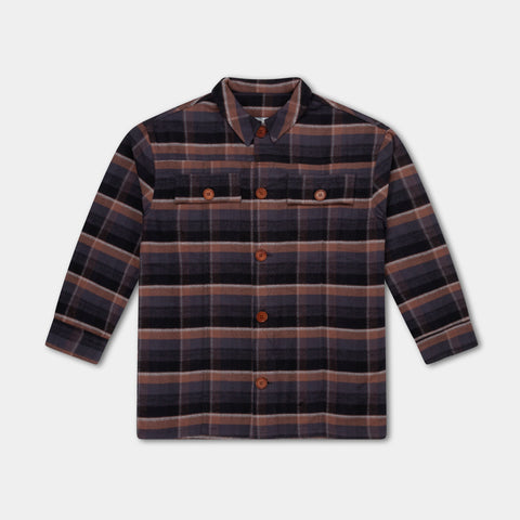 Repose AMS Amsterdam Unisex Kid Buttondown Flannel Shirt Brown Check| BIEN BIEN www.bienbienshop.com