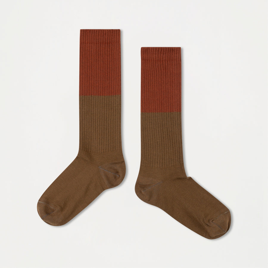 Repose AMS Unisex Kid's Color Block Socks Dark Olive/Hazel | BIEN BIEN www.bienbienshop.com