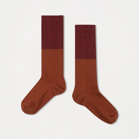 Repose AMS Unisex Kid's Color Block Socks Rosewood Red/Hazel | BIEN BIEN www.bienbienshop.com