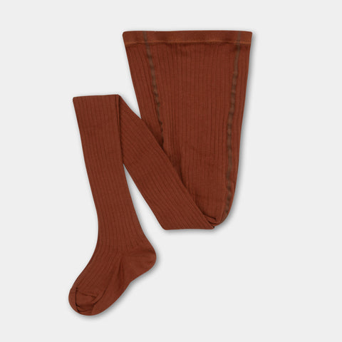 Repose AMS Amsterdam Kid's Ribbed Cotton Tights Warm Hazel | BIEN BIEN www.bienbienshop.com