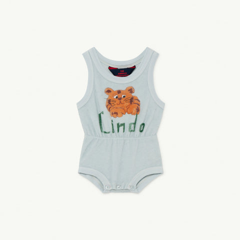 The Animals Observatory Squirrel Baby Terry Bodysuit Light Blue Lindo
