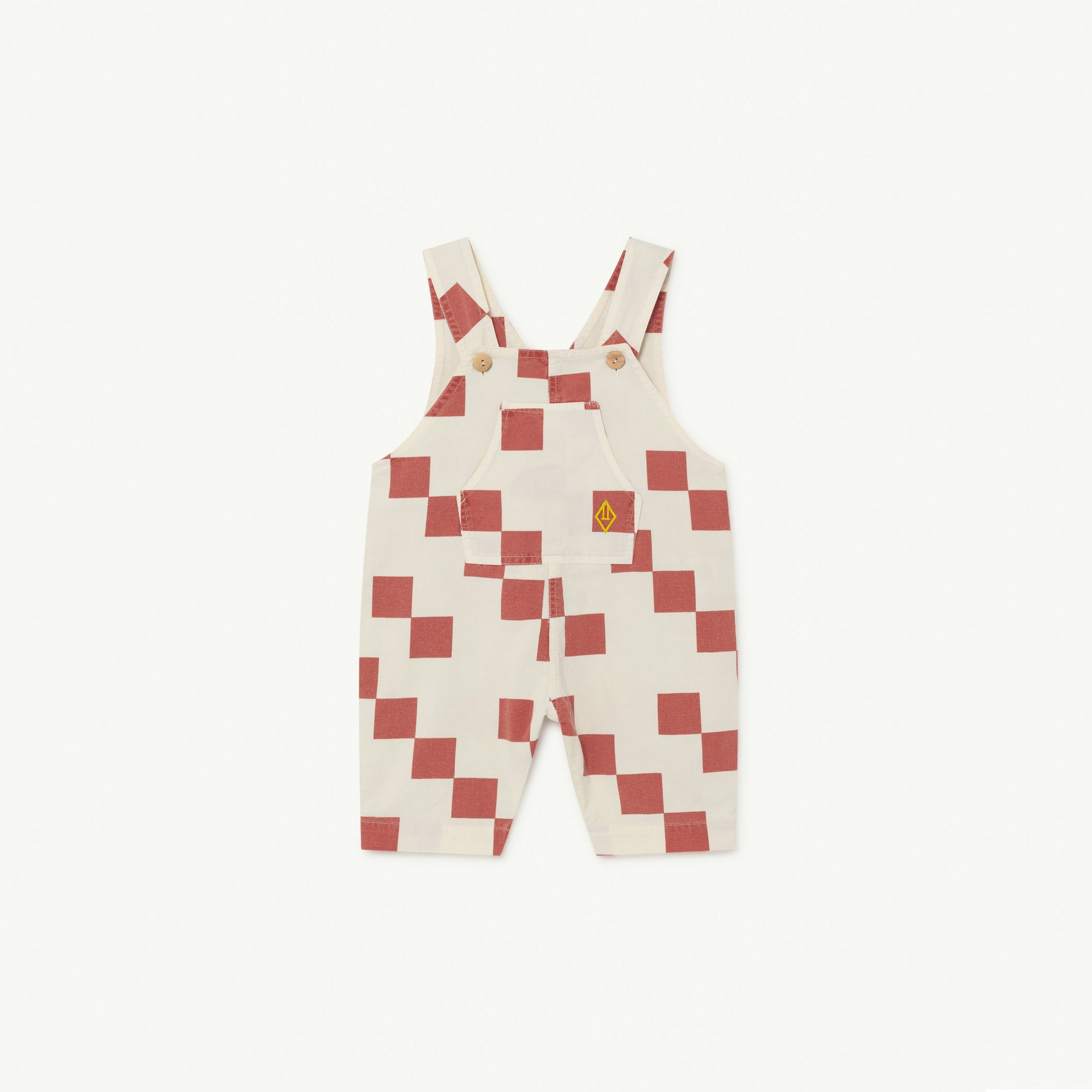 The Animals Observatory Mammoth Baby Dungarees White Red Checker NEW | BIEN BIEN