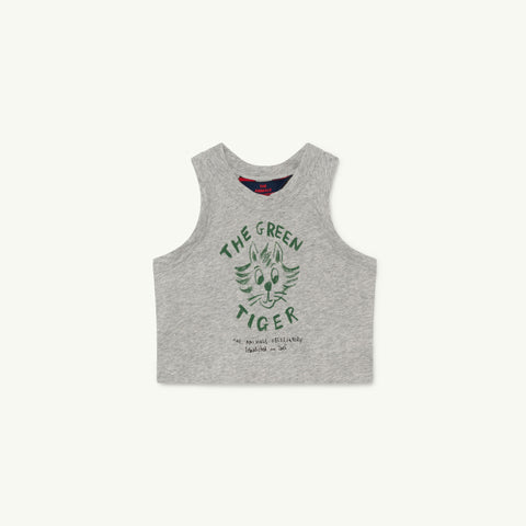The Animals Observatory Frog Baby Sleeveless Tee Heather Grey Tiger