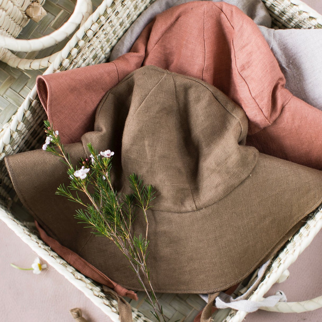 Small Lot Linen Kid's Sun Hat Moss | BIEN BIEN bienbienshop.com