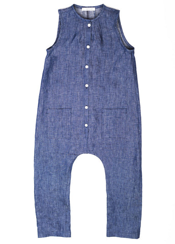 Soor Ploom Frankie Kid's Jumpsuit in Chambray Linen | BIEN BIEN