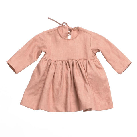 Soor Ploom Baby & Girl's Josie Dress in Berry Linen | BIEN BIEN