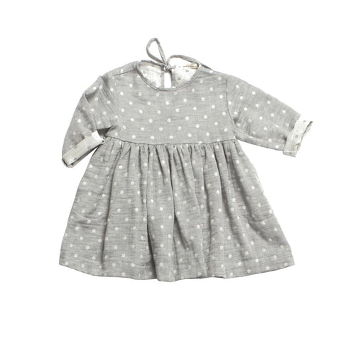 Soor Ploom Baby & Girl's Josie Dress in Grey Dot Double Gauze | BIEN BIEN