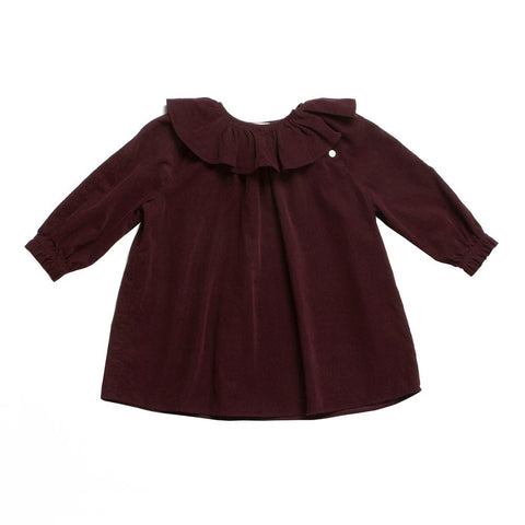 Soor Ploom Baby & Girl's Lucille Tunic Top in Claret Corduroy | BIEN BIEN