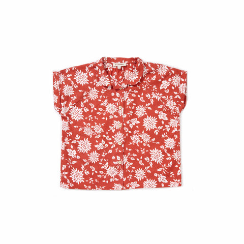 Caramel Sorrell Kid's Shirt in Brick Red Kimono | BIEN BIEN