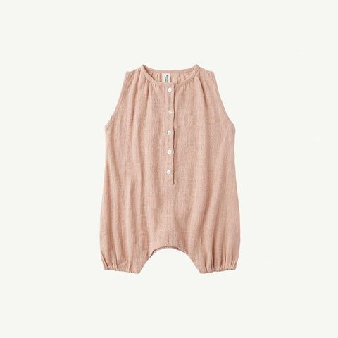 Summer & Storm Baby Sleeveless Romper Cotton Dusty Peach | BIEN BIEN