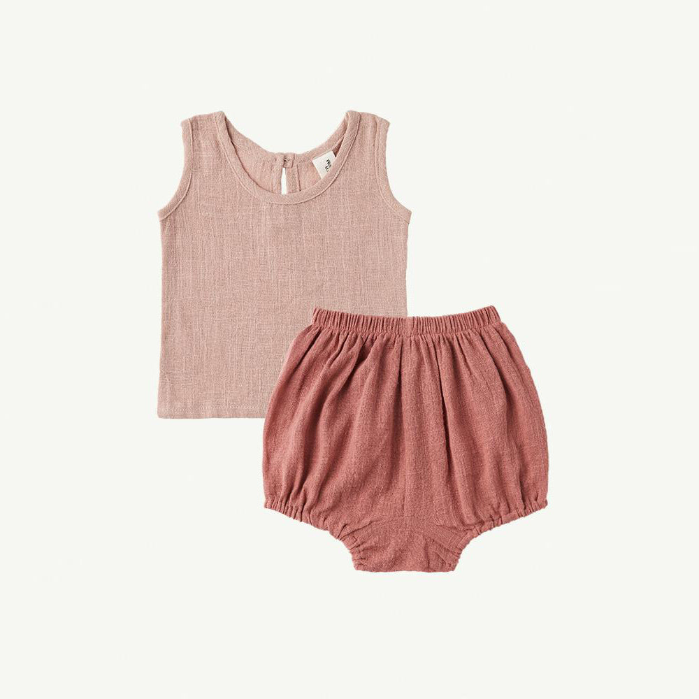 Summer & Storm Baby Singlet & Bloomer Set Blush Rose | BIEN BIEN