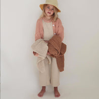 Summer & Storm Chunky Cotton Cardigan Sweater Coral Baby & Kid | BIEN BIEN bienbienshop.com