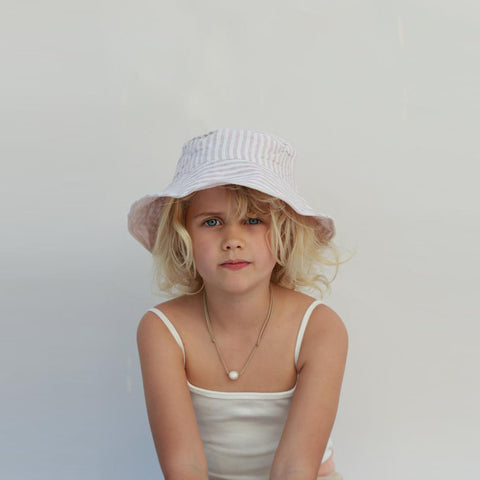 Summer & Storm Kid Wire Brim Sun Hat Rose Stripe Linen | BIEN BIEN