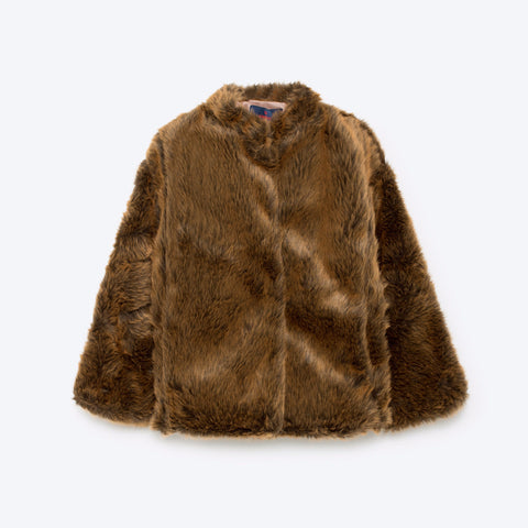 The Animals Observatory Shrew Kid's Jacket in Brown Fur | BIEN BIEN