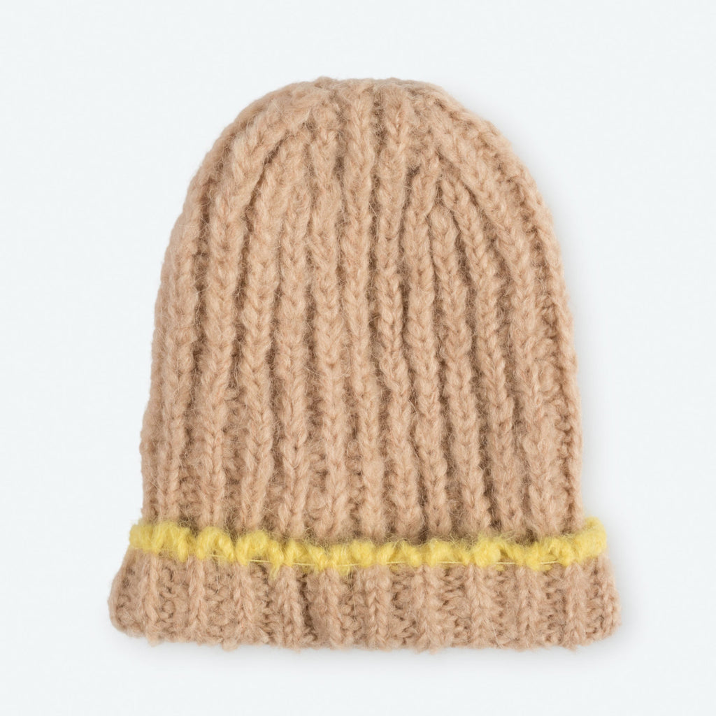 The Animals Observatory Squirrel Baby Cap in Acid Yellow