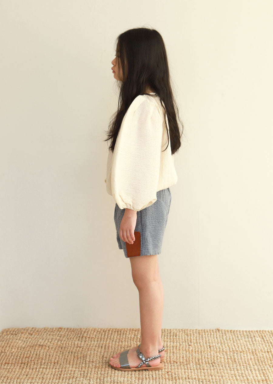 Tambere Puff Sleeve Girl's Blouse in Cream | BIEN BIEN