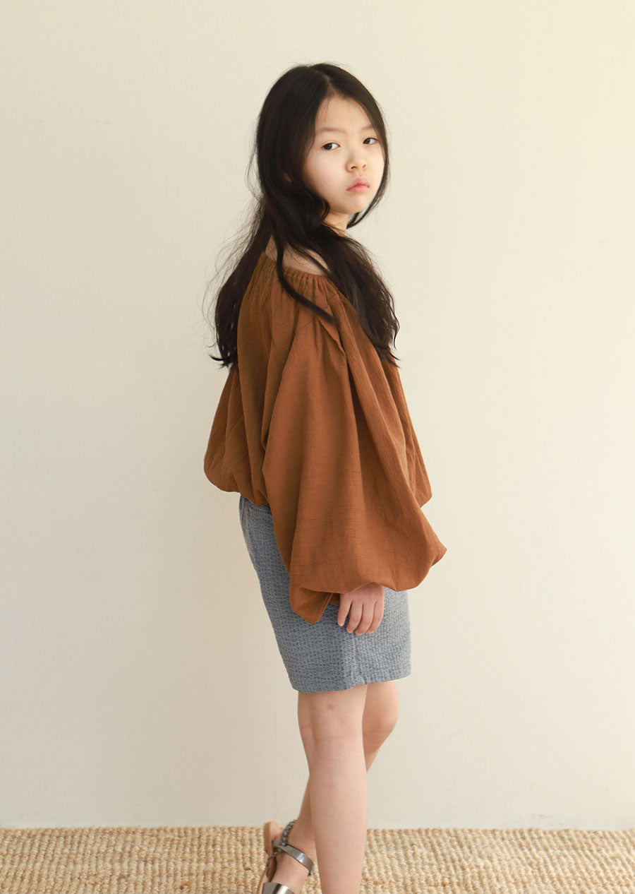 Tambere Puff Sleeve Girl's Blouse in Orange Brown | BIEN BIEN