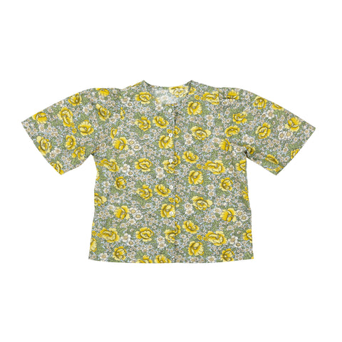 Tambere Yellow Flower Kid's Buttondown Blouse Cotton | BIEN BIEN www.bienbienshop.com