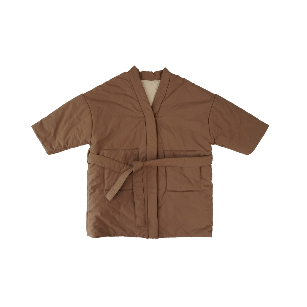 Tambere Padded Kid's Overcoat in Milk Brown | BIEN BIEN