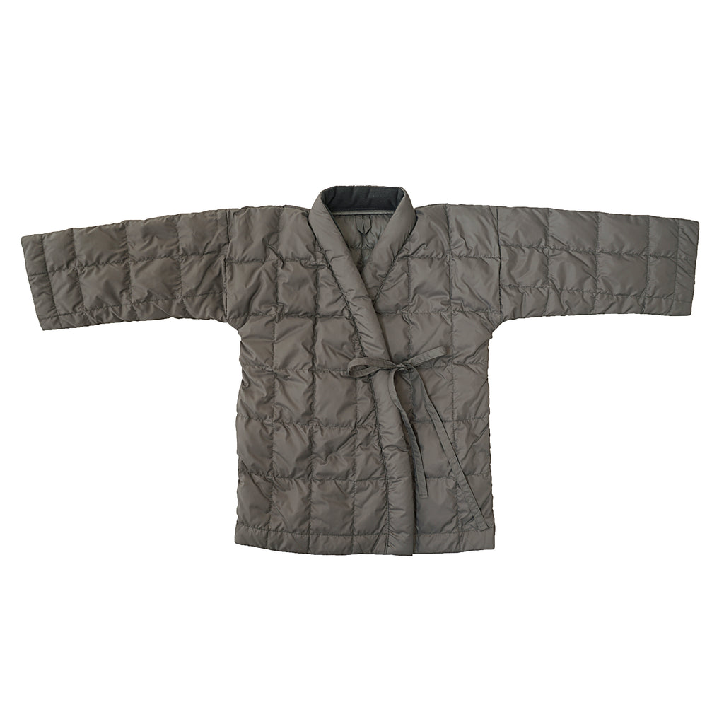 Tambere Quilted Kid's Kimono Down Coat in Khaki Grey | BIEN BIEN