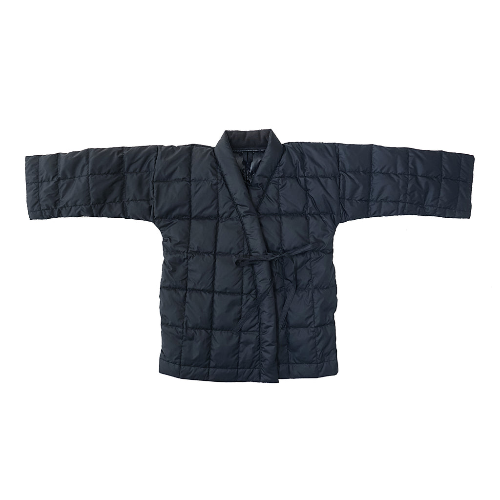 Tambere Quilted Kid's Kimono Down Coat in Deep Navy Blue | BIEN BIEN