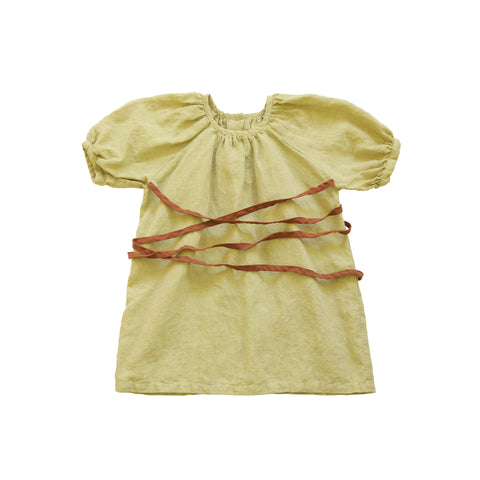 Tambere Ankara Girl's Dress Yellow Green Linen | BIEN BIEN www.bienbienshop.com
