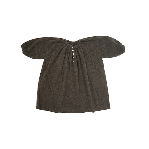 Tambere Flannel Kid's Peasant Dress in Mocha Brown | BIEN BIEN