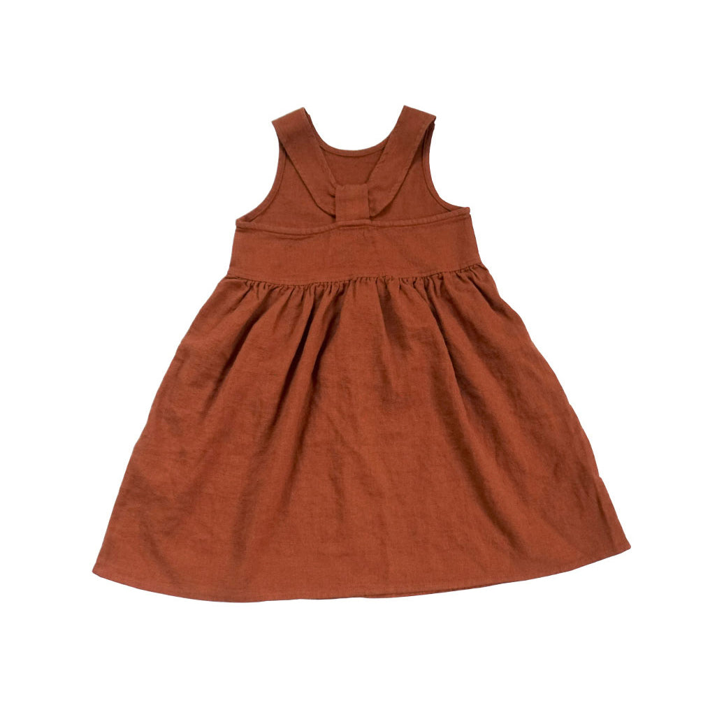 Tambere Insk Girl's Dress Sienna Brown Linen | BIEN BIEN www.bienbienshop.com