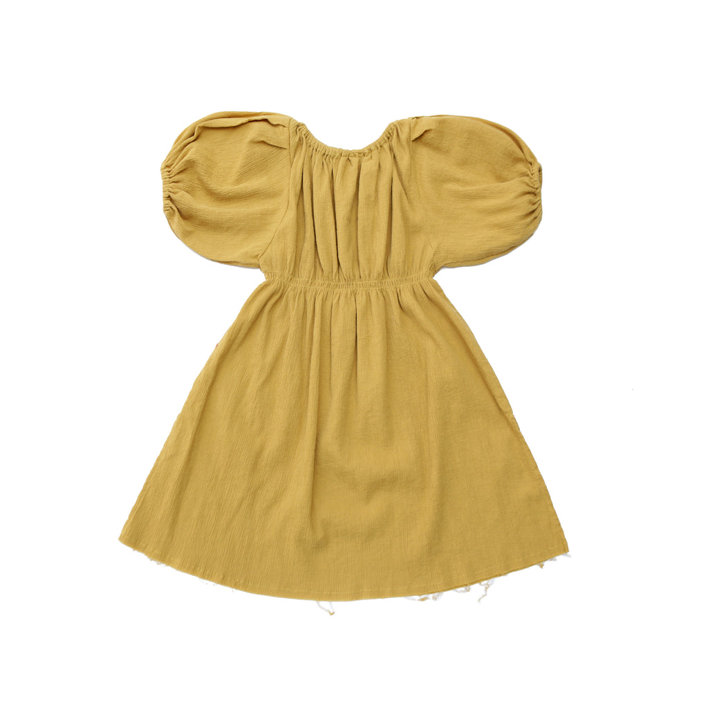 9b32a914b12c Tambere Puff Sleeve Girl's Dress in Golden Yellow | BIEN BIEN