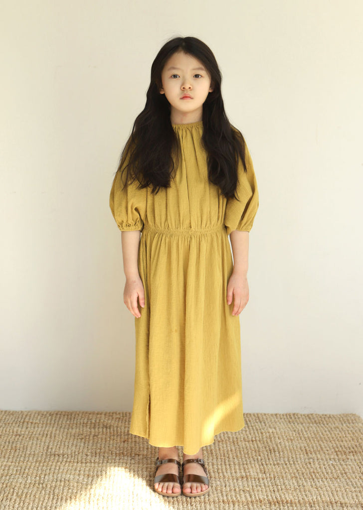 Tambere Puff Sleeve Girl's Dress in Golden Yellow | BIEN BIEN