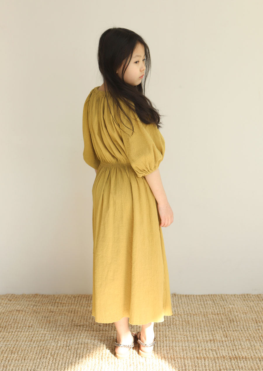 60ffdc1f7a58 ... Tambere Puff Sleeve Girl's Dress in Golden Yellow | BIEN BIEN