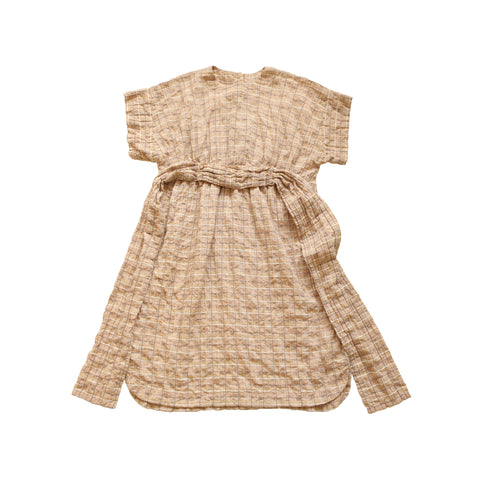 Tambere Short Sleeve Sash Kid's Dress Beige Check Cotton | BIEN BIEN www.bienbienshop.com