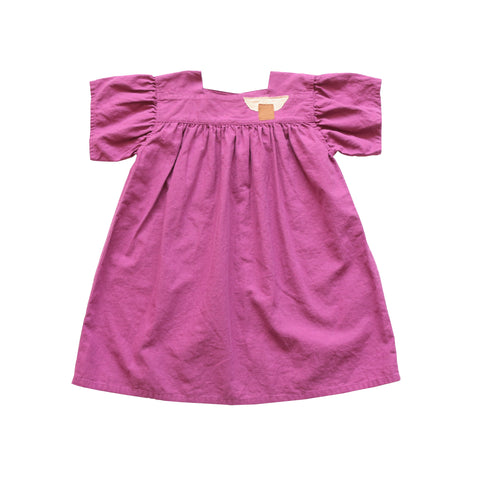 Tambere Square Neck Kid's Dress Magenta Linen/Cotton | BIEN BIEN www.bienbienshop.com