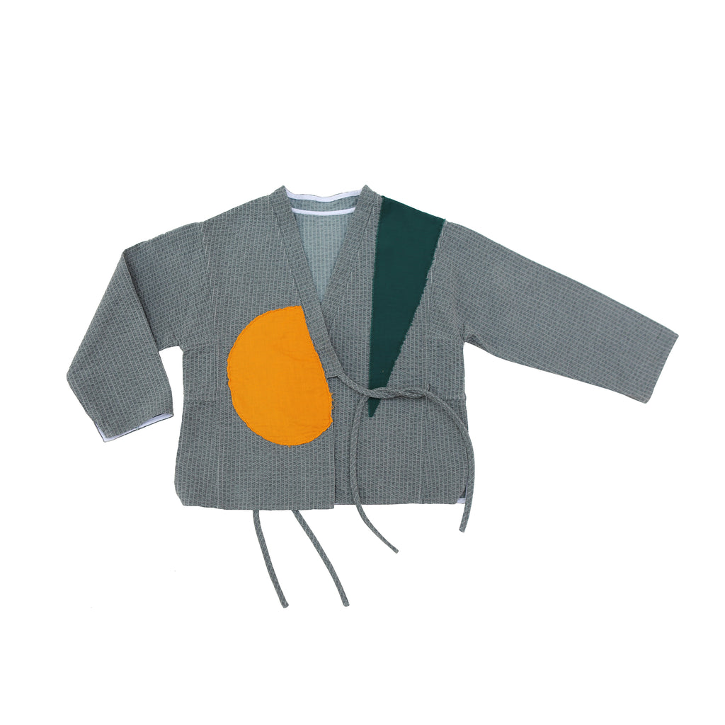Tambere Quilted Patch Kid's Kimono Jacket in Charcoal | BIEN BIEN