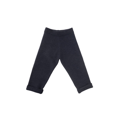 Tambere Knit Cuffed Kid's Wool Pants in Navy Blue | BIEN BIEN