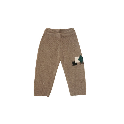 Tambere Knit Kid's Patch Pants in Mocha Beige | BIEN BIEN