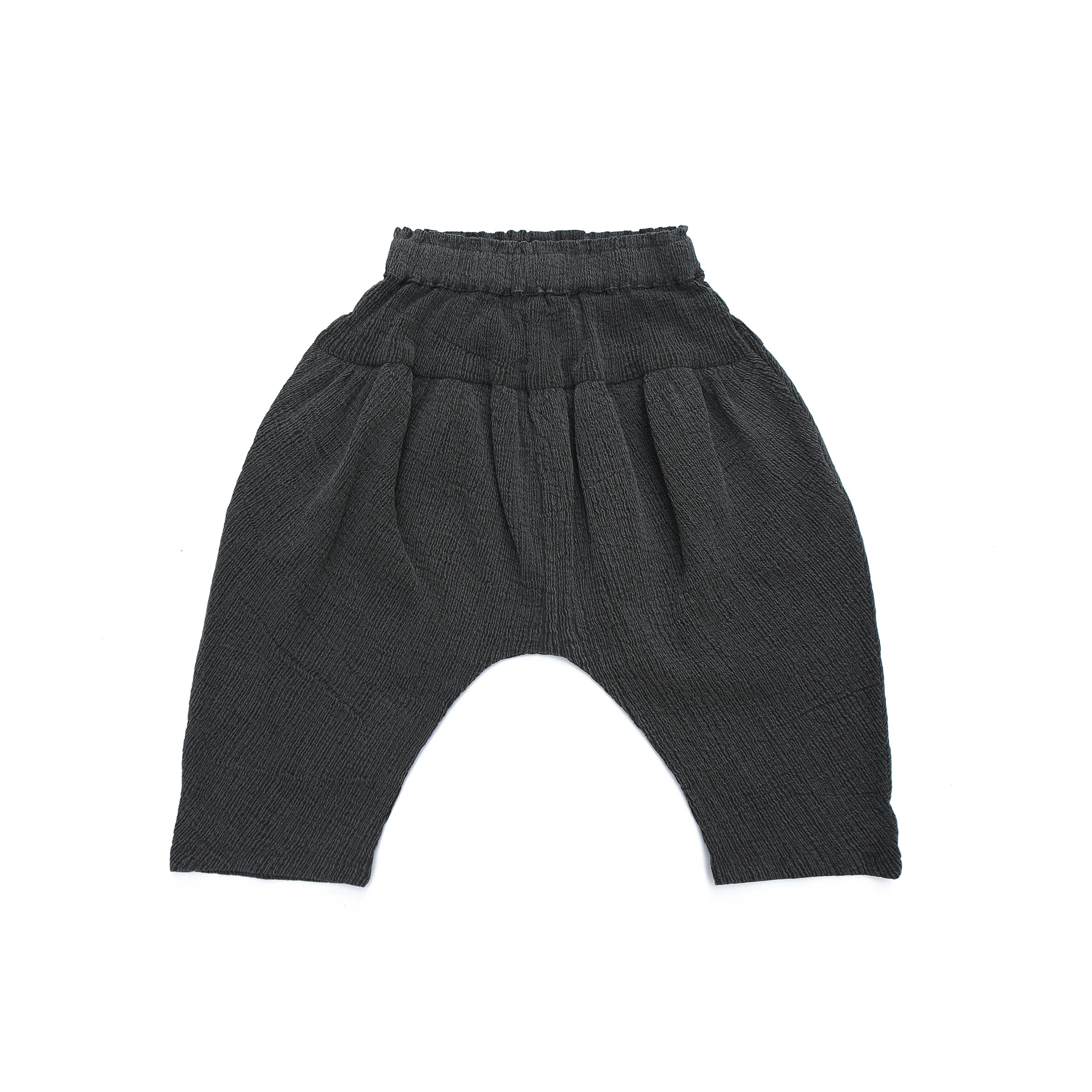 Tambere Pleated Cropped Harem Kid's Pant in Charcoal | BIEN BIEN