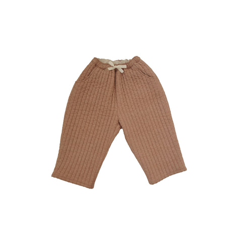 Tambere Quilted Kid's Oversized Trousers in Peach Beige | BIEN BIEN