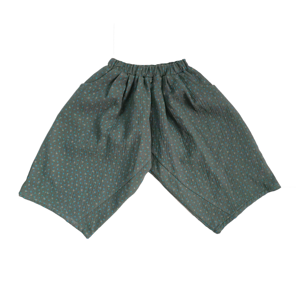 Tambere Wide Leg Kid's Trouser Dark Green Flower | BIEN BIEN www.bienbienshop.com