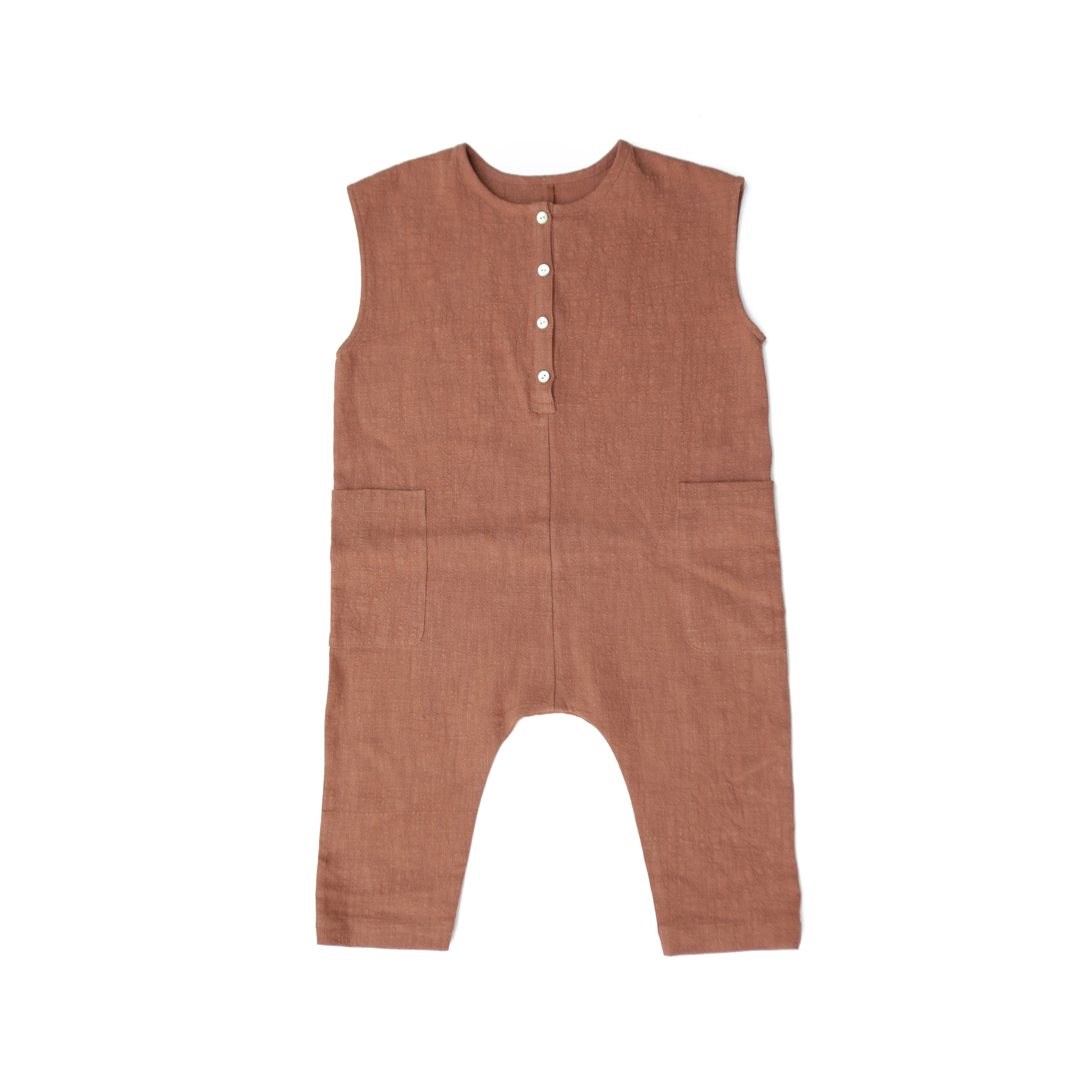 Tambere Sleeveless Kid's Romper in Orange Brown | BIEN BIEN
