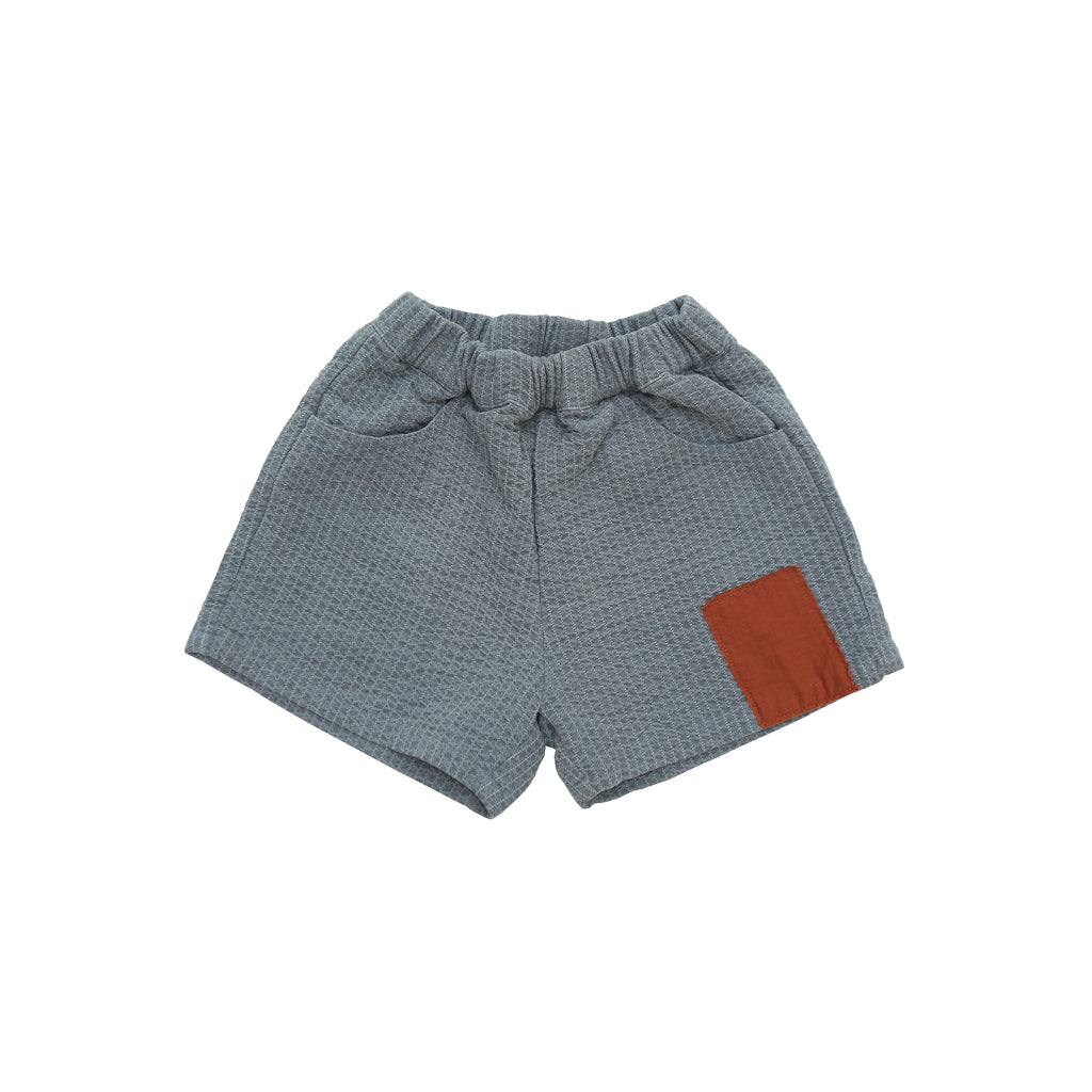 Tambere Quilted Patch Kid's Shorts in Charcoal | BIEN BIEN