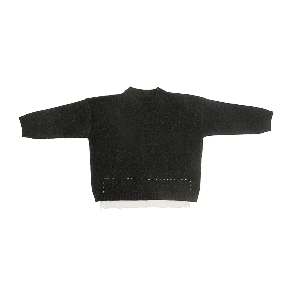 Tambere Stitched Kid's Wool/Cashmere Knit Pullover Black | BIEN BIEN