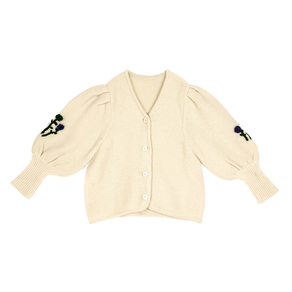 Tambere Verbier Kid's Knit Cardigan Puff Sleeves Cream | BIEN BIEN bienbienshop.com