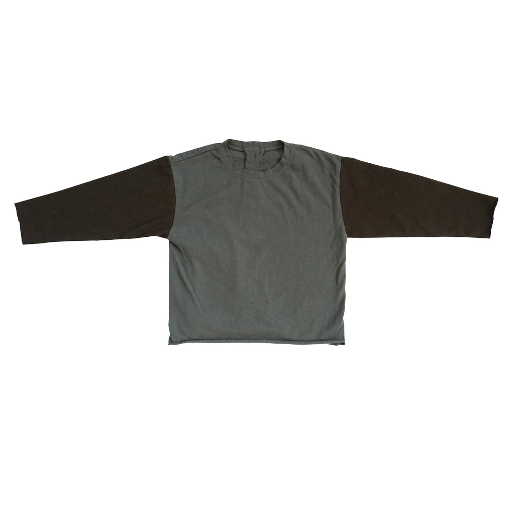 Tambere Color Block Long Sleeve Kid's T-Shirt Charcoal/Brown | BIEN BIEN www.bienbienshop.com