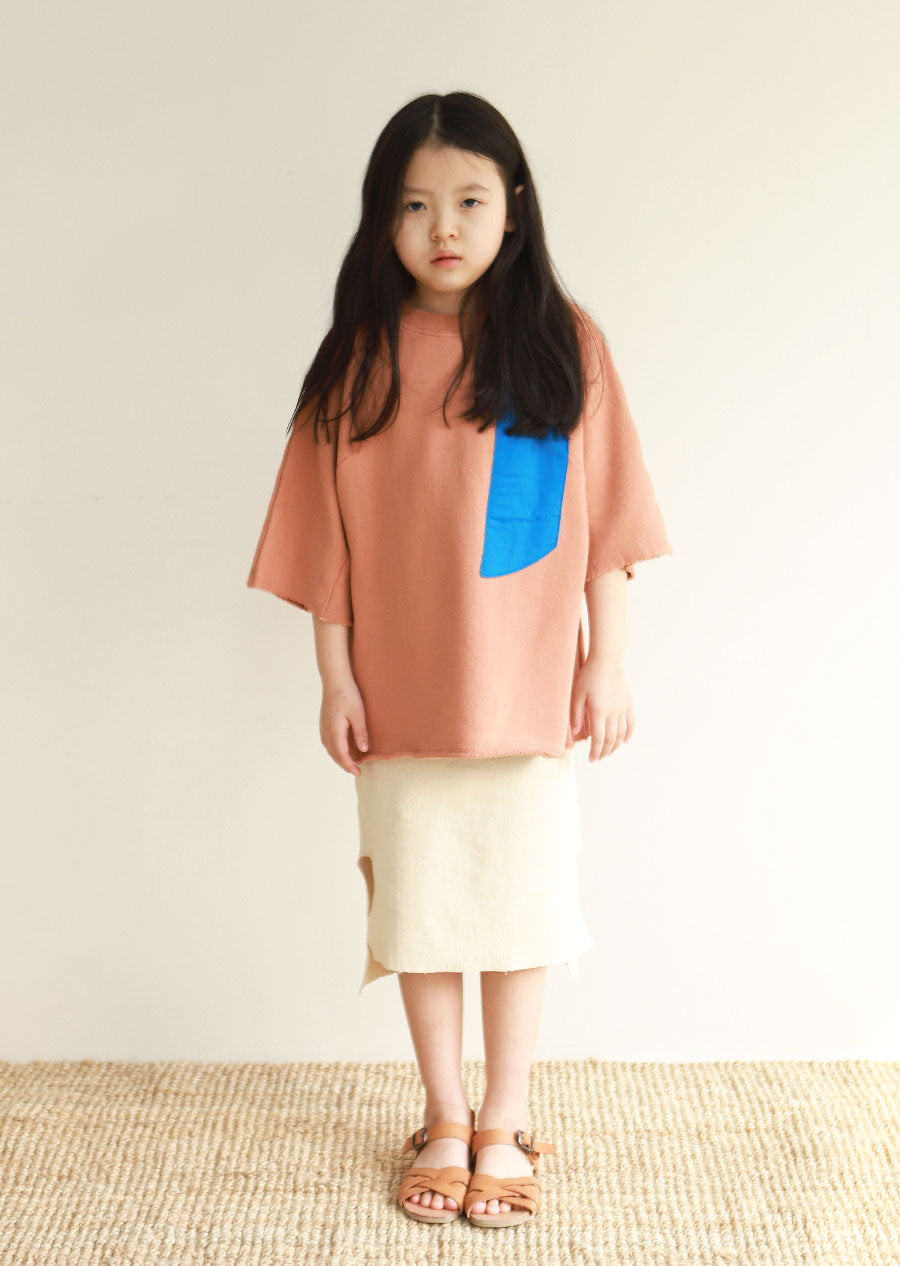 Tambere Oversized Patch Kid's T-Shirt in Orange Brown | BIEN BIEN
