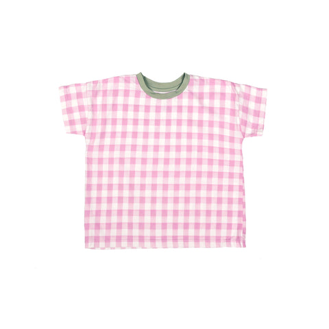 Tambere Gingham Kid's T-Shirt Pink/White Check Cotton | BIEN BIEN