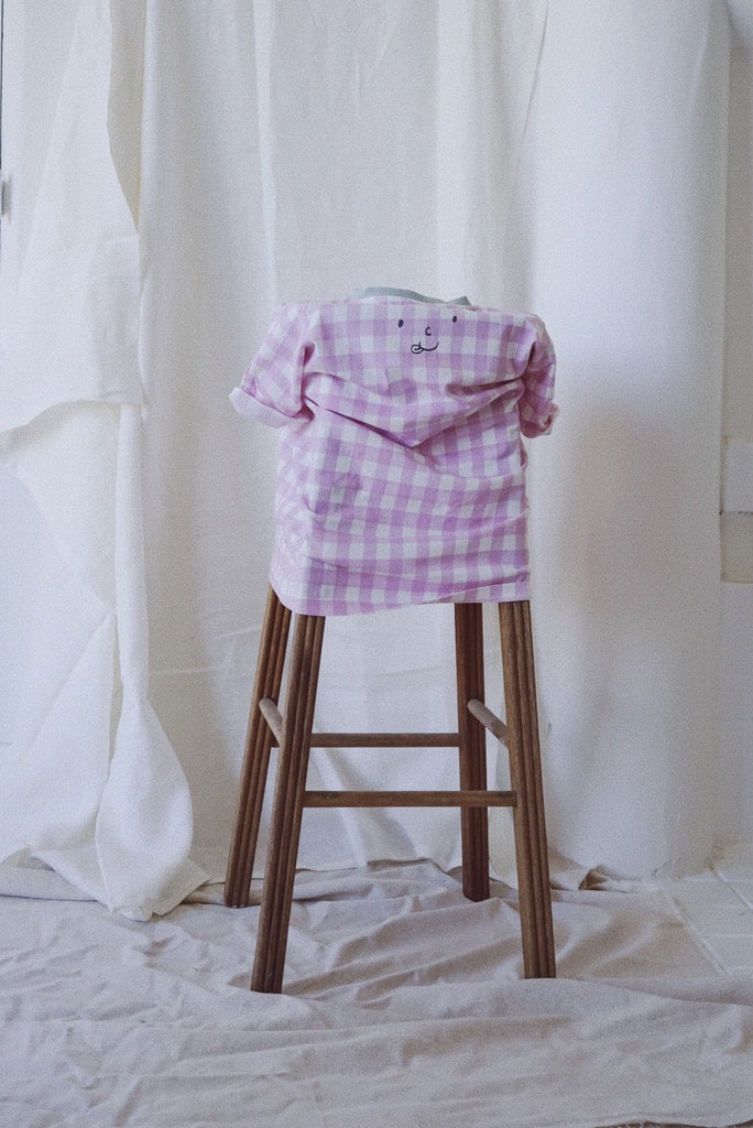 Tambere Gingham Kid's T-Shirt Pink/White Check Cotton | BIEN BIEN www.bienbienshop.com