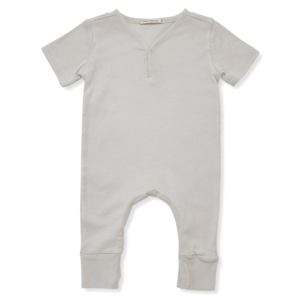 Tane Organics Short Sleeve V-Neck Baby Romper in Bone | BIEN BIEN