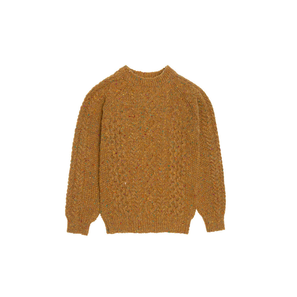 The New Society Noel Tweed Kid's Sweater Ocre Melange | BIEN BIEN www.bienbienshop.com